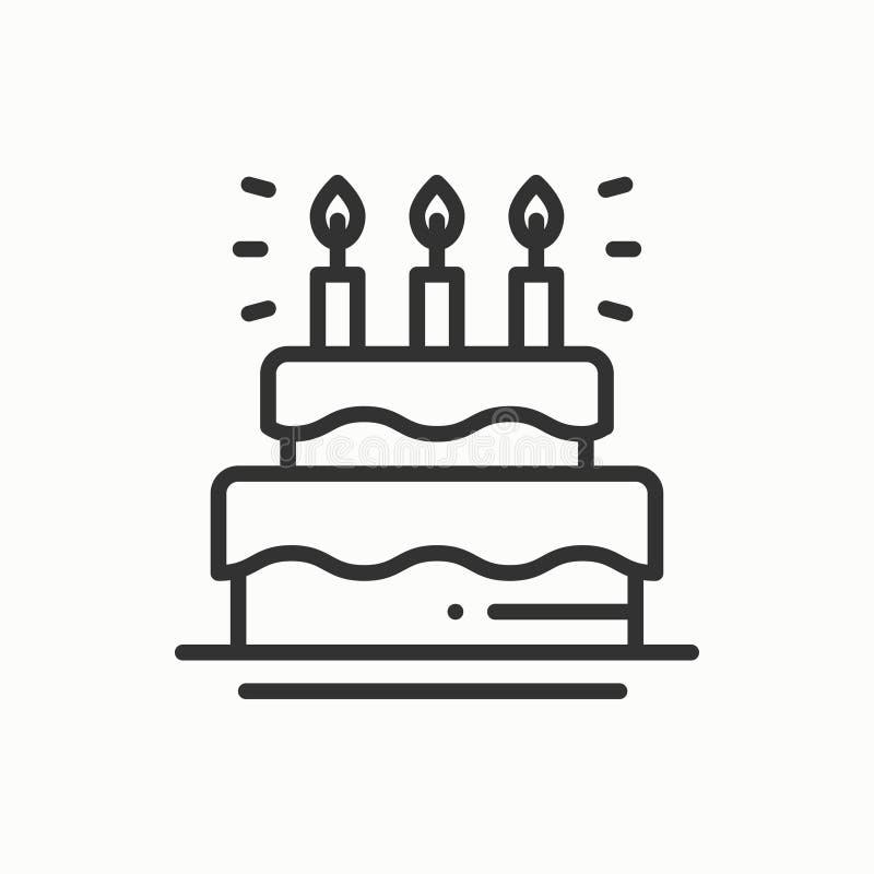 Κέικ γενεθλίων, πίτα με το εικονίδιο κεριών γενέθλια ευτυχή Γεγονός καρναβάλι διακοπών γενεθλίων εορτασμού κόμματος εορταστικό γρ διανυσματική απεικόνιση