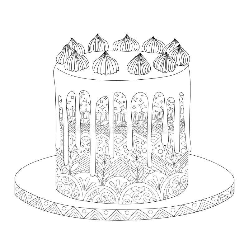 Κέικ για το χρωματισμό του βιβλίου απεικόνιση αποθεμάτων