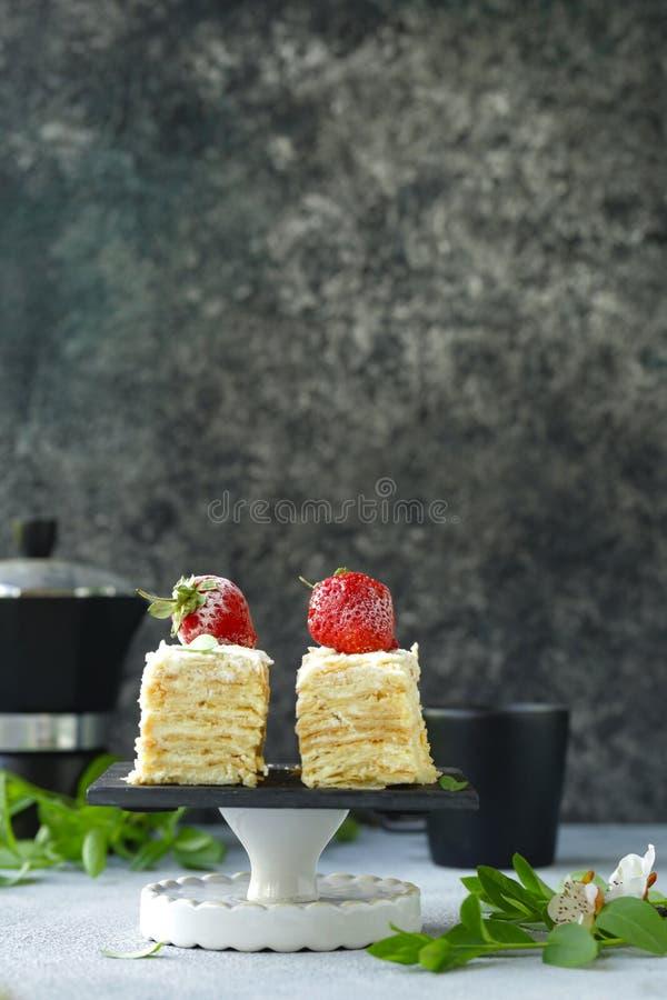 Κέικ επιδορπίων napoleon στοκ φωτογραφία με δικαίωμα ελεύθερης χρήσης