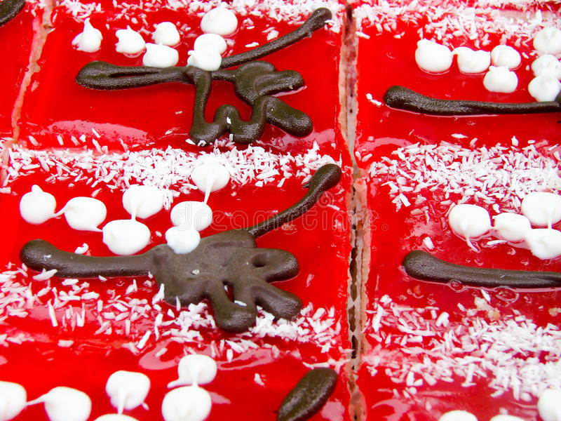 Κέικ ζελατίνας φρούτων στενό στον επάνω αγοράς Τοπ όψη Εκλεκτική εστίαση στοκ φωτογραφίες με δικαίωμα ελεύθερης χρήσης