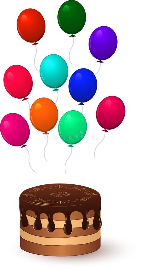 Κέικ και μπαλόνια σοκολάτας απεικόνιση αποθεμάτων