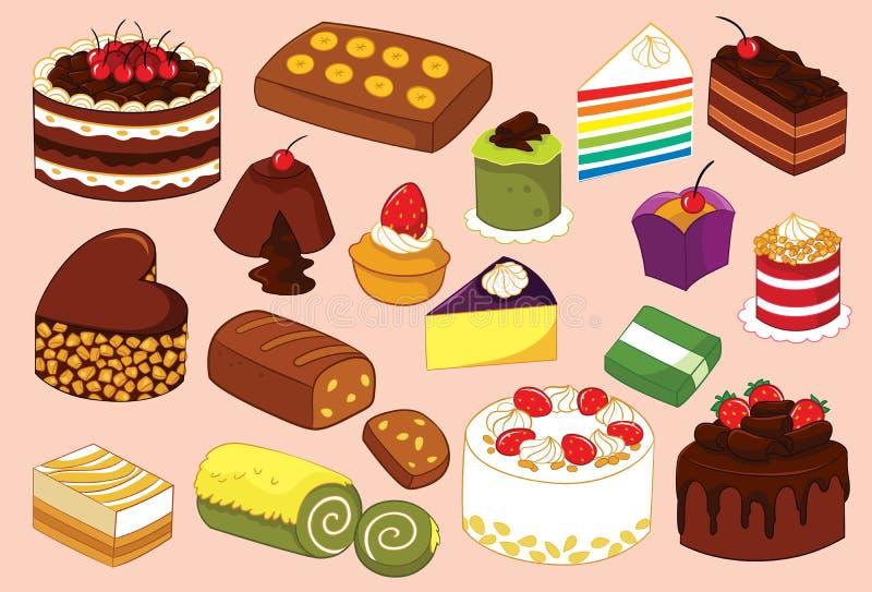 Κέικ και ξινή διάφορη διανυσματική απεικόνιση απεικόνιση αποθεμάτων