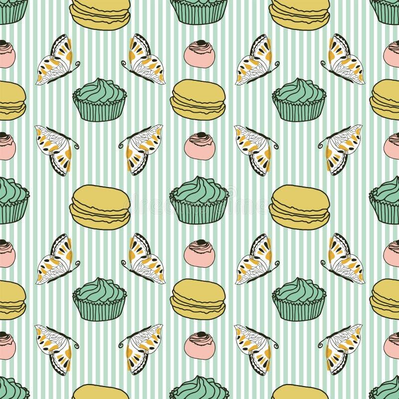 Κέικ και πεταλούδες στο διάνυσμα υποβάθρου λωρίδων απεικόνιση αποθεμάτων