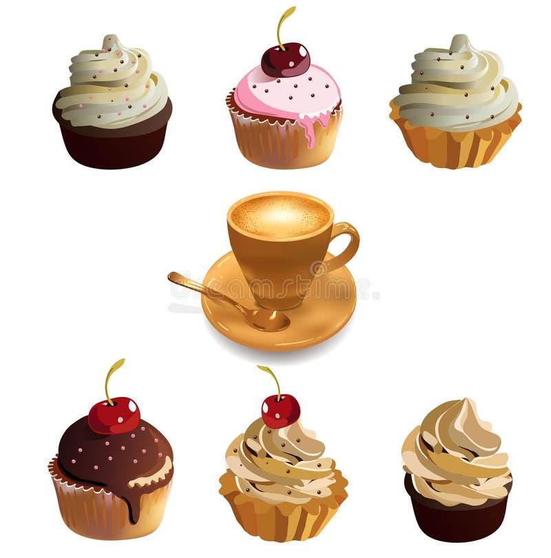 Κέικ και φλιτζάνι του καφέ φλυτζανιών. διανυσματική απεικόνιση