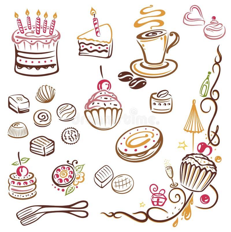 Κέικ, καφές, πραλίνες διανυσματική απεικόνιση