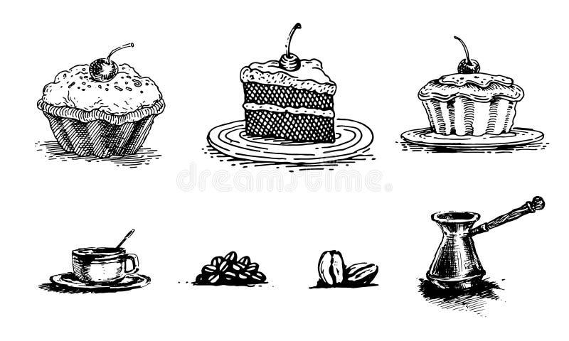 Κέικ κερασιών, κομμάτι του κέικ σε μια πιατέλα, του κέικ, της εκλεκτής ποιότητας γραφικής παράστασης και του καφέ ελεύθερη απεικόνιση δικαιώματος