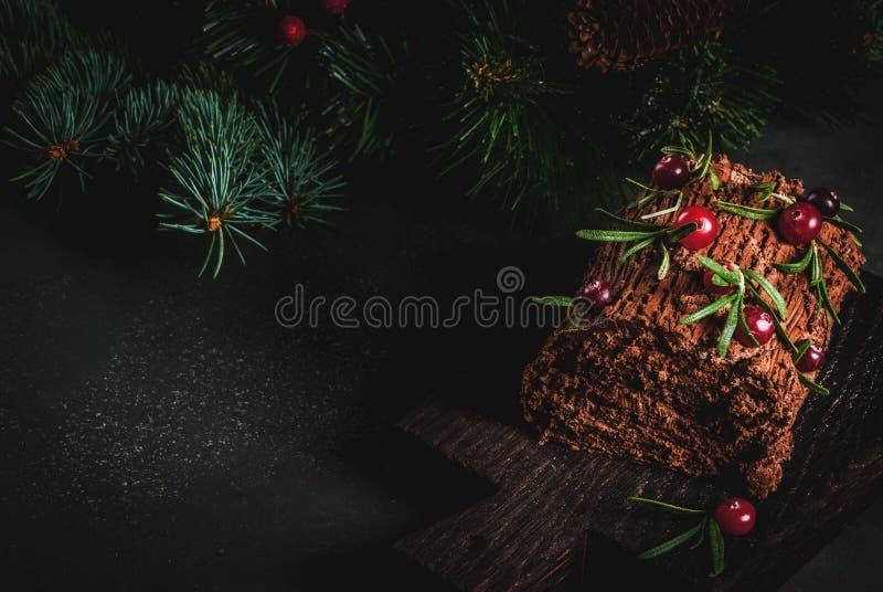 Κέικ κούτσουρων Yule Χριστουγέννων στοκ φωτογραφίες με δικαίωμα ελεύθερης χρήσης