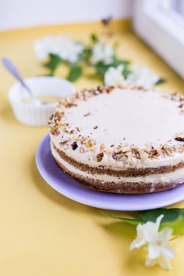 Κέικ μελιού με τα καρύδια και την κρέμα στοκ φωτογραφίες