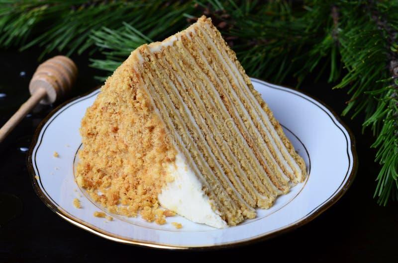 Κέικ μελιού με την ξινή κρέμα στοκ φωτογραφία με δικαίωμα ελεύθερης χρήσης