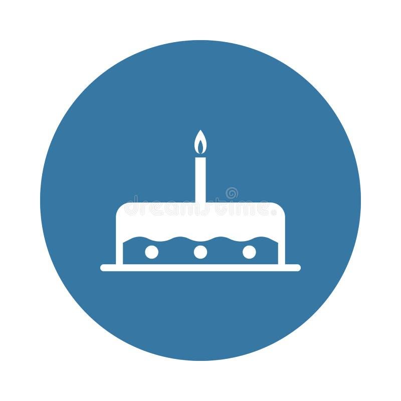 κέικ με ένα εικονίδιο κεριών Στοιχείο των εικονιδίων κομμάτων για την κινητούς έννοια και τον Ιστό apps Το κέικ ύφους διακριτικών ελεύθερη απεικόνιση δικαιώματος