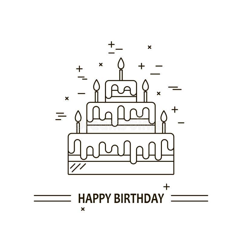 Κέικ με τη διανυσματική γραμμή εικονιδίων κεριών σχεδιασμένος γλυκός νόστιμος απεικόνισης επιδορπίων Χρόνια πολλά τρόφιμα εορτασμ απεικόνιση αποθεμάτων