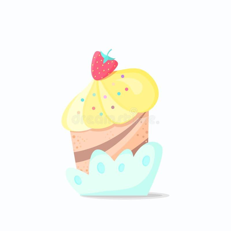Κέικ με τις φράουλες ελεύθερη απεικόνιση δικαιώματος