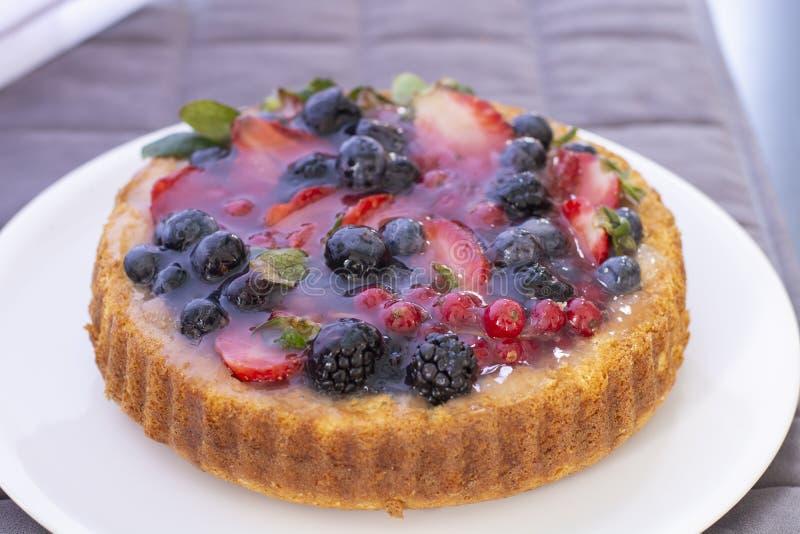 Κέικ με το το βακκίνιο, τη φράουλα, το βακκίνιο και το βατόμουρο στοκ εικόνες με δικαίωμα ελεύθερης χρήσης