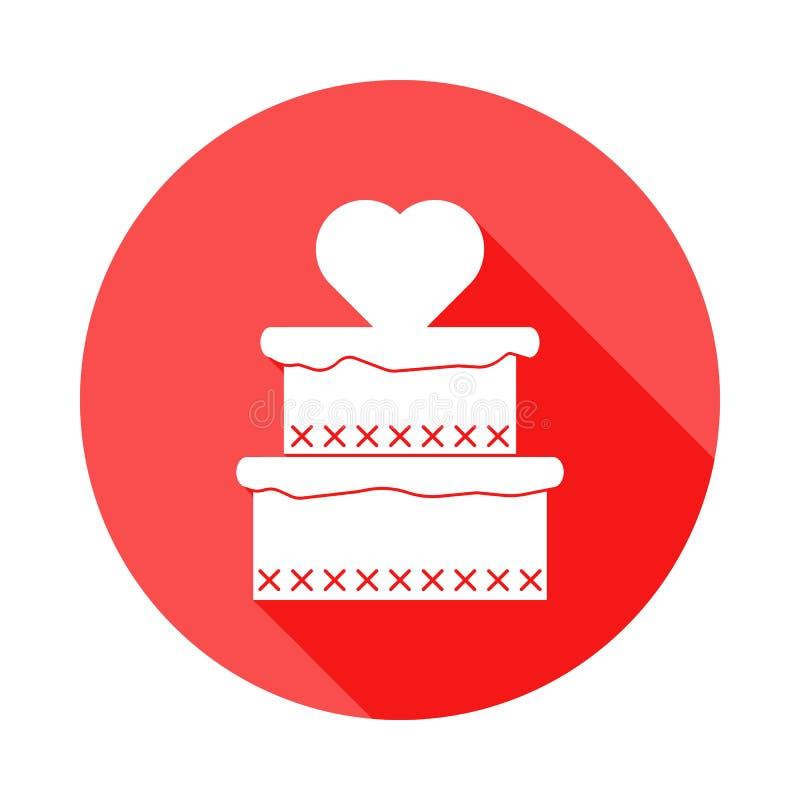 κέικ με το εικονίδιο καρδιών στην επίπεδη, μακριά σκιά απεικόνιση αποθεμάτων