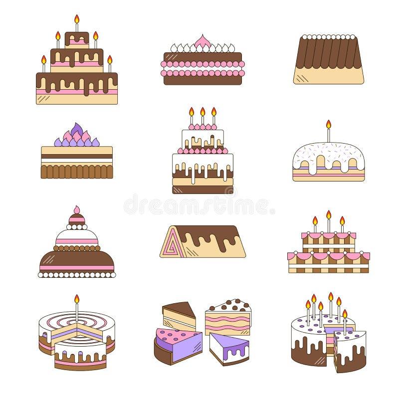 Κέικ με το διανυσματικό σύνολο γραμμών εικονιδίων κεριών σχεδιασμένος γλυκός νόστιμος απεικόνισης επιδορπίων Χρόνια πολλά εορτασμ απεικόνιση αποθεμάτων