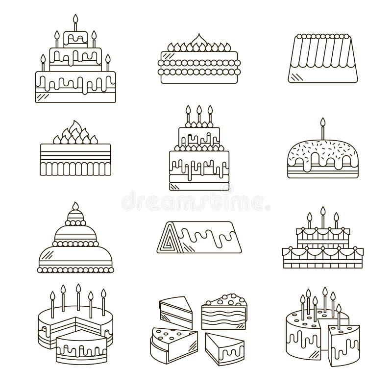 Κέικ με το διανυσματικό σύνολο γραμμών εικονιδίων κεριών σχεδιασμένος γλυκός νόστιμος απεικόνισης επιδορπίων Χρόνια πολλά εορτασμ διανυσματική απεικόνιση