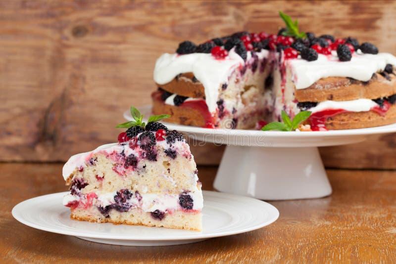 Κέικ μουριών και κόκκινων σταφίδων με την κτυπημένη κρέμα στοκ εικόνες