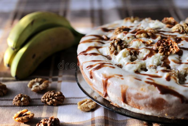 Κέικ μπανανών στοκ εικόνες