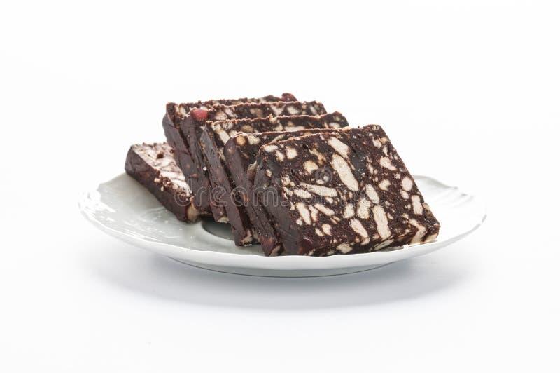 Κέικ μπισκότων με το κακάο - φέτες στοκ εικόνα