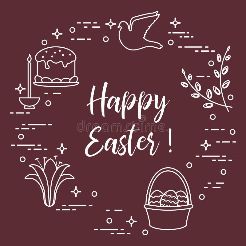 Κέικ Πάσχας, ιτιά, κρίνος, κερί, περιστέρι, καλάθι, αυγά απεικόνιση αποθεμάτων