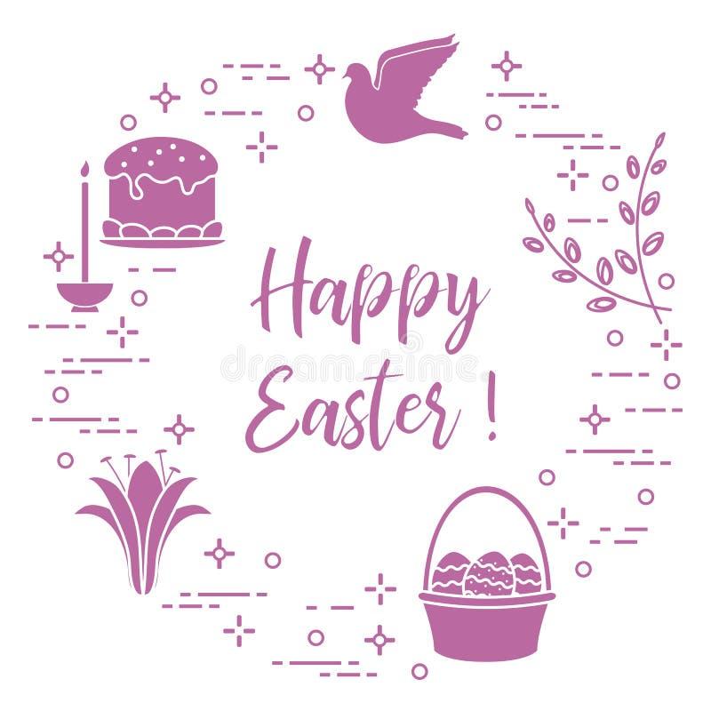 Κέικ Πάσχας, ιτιά, κρίνος, κερί, περιστέρι, καλάθι, αυγά διανυσματική απεικόνιση