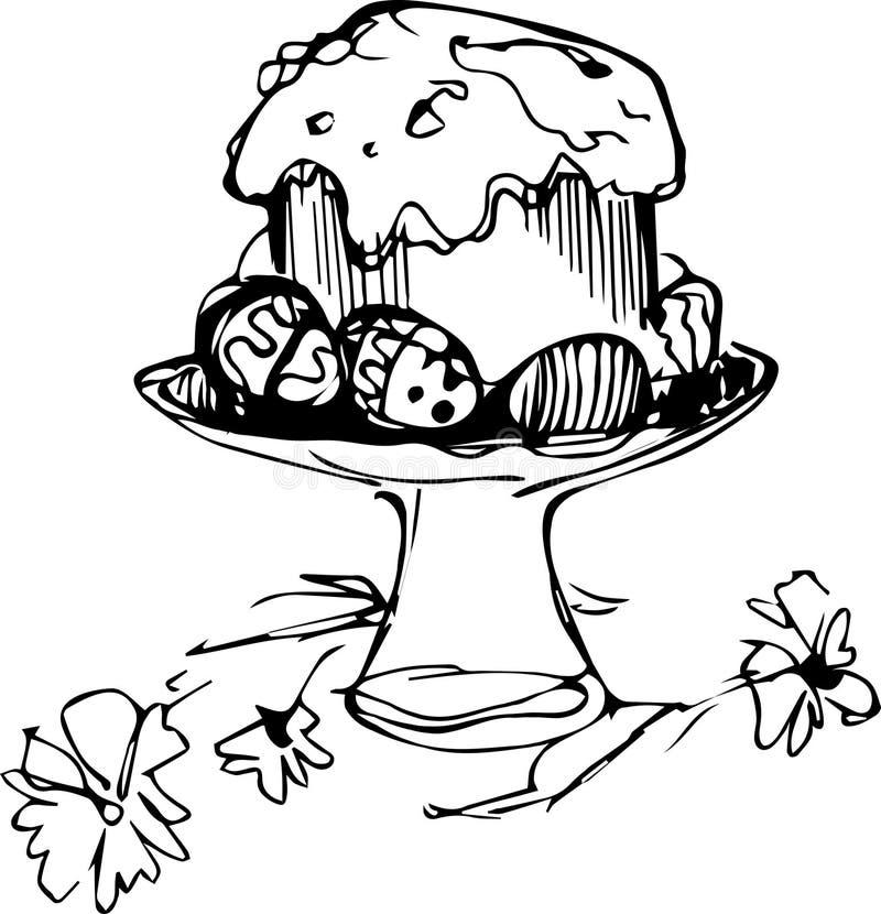 Κέικ Πάσχας με τα αυγά και τα λουλούδια σε ένα βάζο διανυσματική απεικόνιση