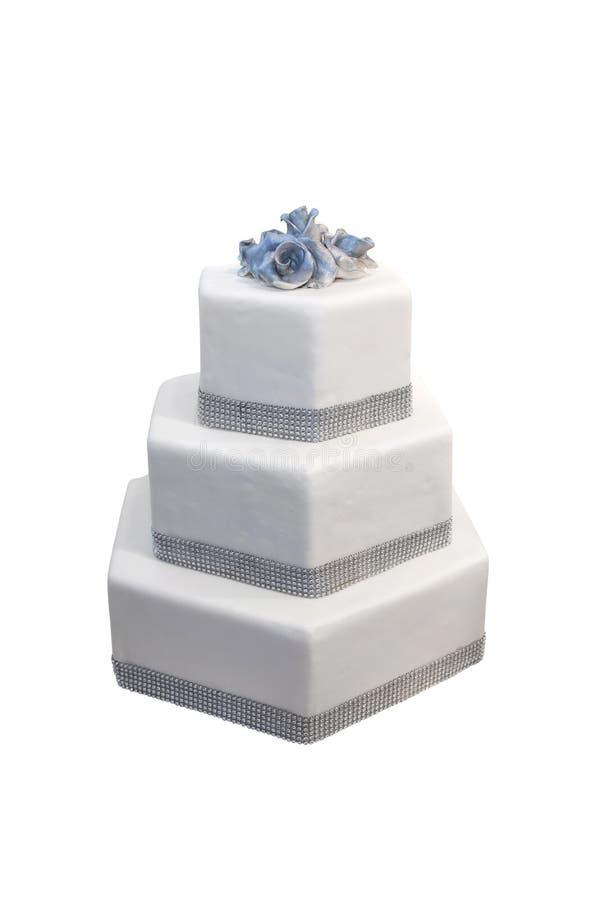 Κέικ που διακοσμείται γαμήλιο με τα διαμάντια στοκ φωτογραφία με δικαίωμα ελεύθερης χρήσης