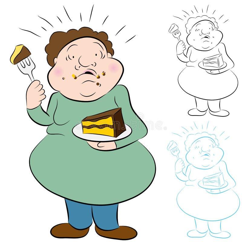 κέικ που τρώει πολύ επίσης διανυσματική απεικόνιση