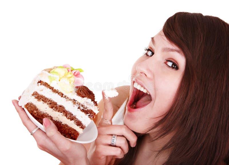 κέικ που τρώει το κομμάτι &kapp στοκ εικόνες