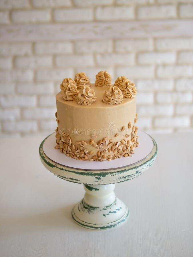 Κέικ σοκολάτας με την αλατισμένα καραμέλα, τα φυστίκια, που διακοσμούνται με τη σοκολάτα, τα καρύδια και τα κομμάτια της σοκολάτα στοκ φωτογραφίες