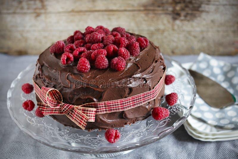 Κέικ σοκολάτας καφέ και γάλακτος ganache με τη μαρμελάδα σμέουρων στοκ εικόνα με δικαίωμα ελεύθερης χρήσης