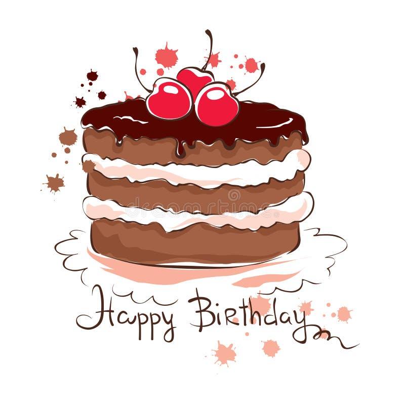 Κέικ σοκολάτας με το κεράσι απεικόνιση αποθεμάτων