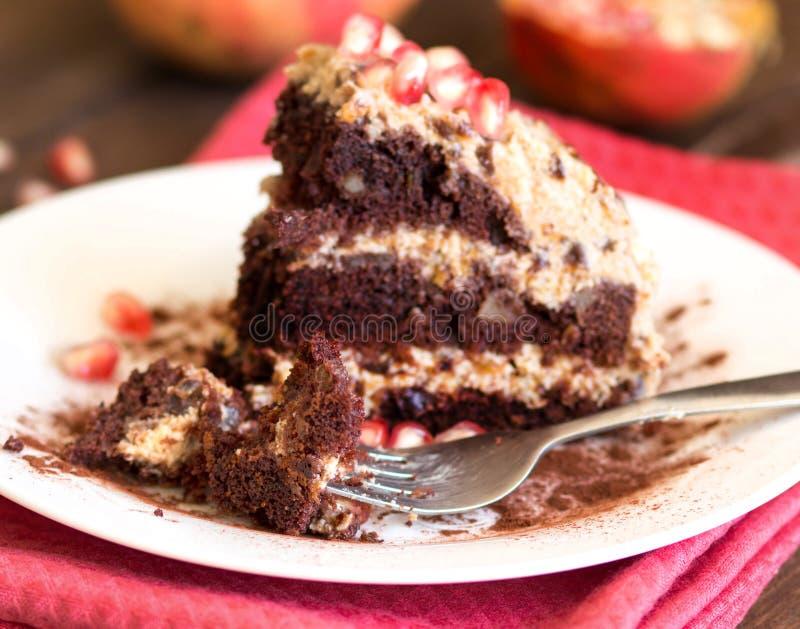 Κέικ σοκολάτας, ξύλων καρυδιάς και δαμάσκηνων στοκ φωτογραφίες με δικαίωμα ελεύθερης χρήσης