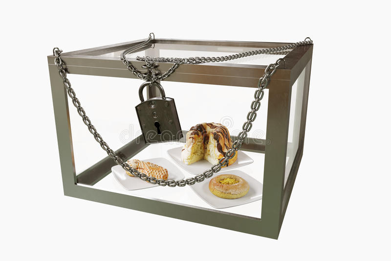 Κέικ στο στενό κιβώτιο μετάλλων με τη φωτογραφία σύνθεσης έννοιας διατροφής αλυσίδων στοκ φωτογραφία