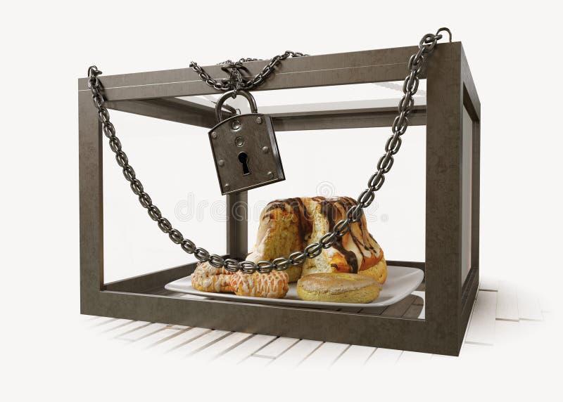 Κέικ στο στενό κιβώτιο μετάλλων με τη φωτογραφία σύνθεσης έννοιας διατροφής αλυσίδων στοκ εικόνα