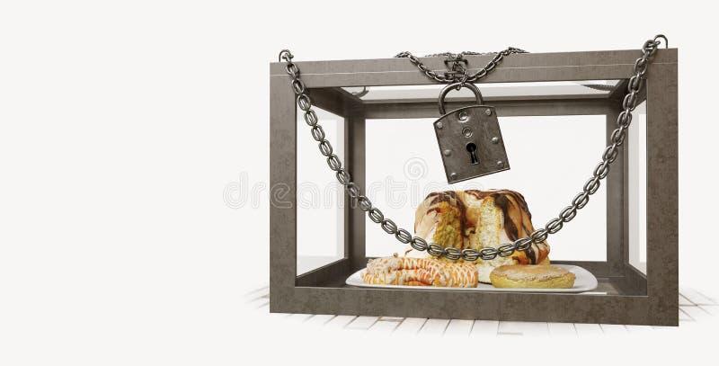 Κέικ στο στενό κιβώτιο μετάλλων με τη φωτογραφία σύνθεσης έννοιας διατροφής αλυσίδων στοκ εικόνες με δικαίωμα ελεύθερης χρήσης