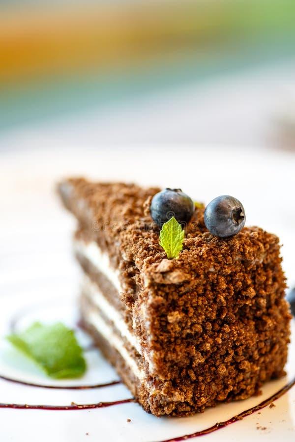 Κέικ στρώματος καφέ με τα βακκίνια στοκ εικόνα
