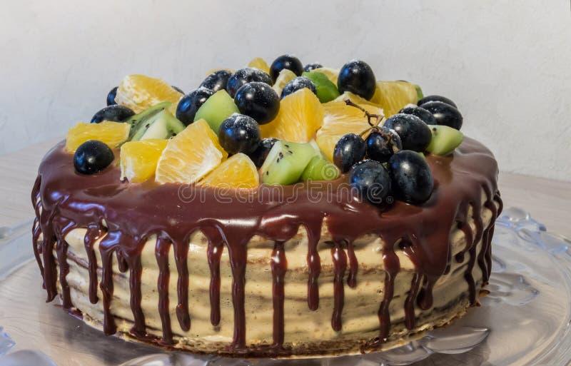 Κέικ σφουγγαριών με τα φρούτα και τους λεκέδες σοκολάτας στοκ φωτογραφίες με δικαίωμα ελεύθερης χρήσης