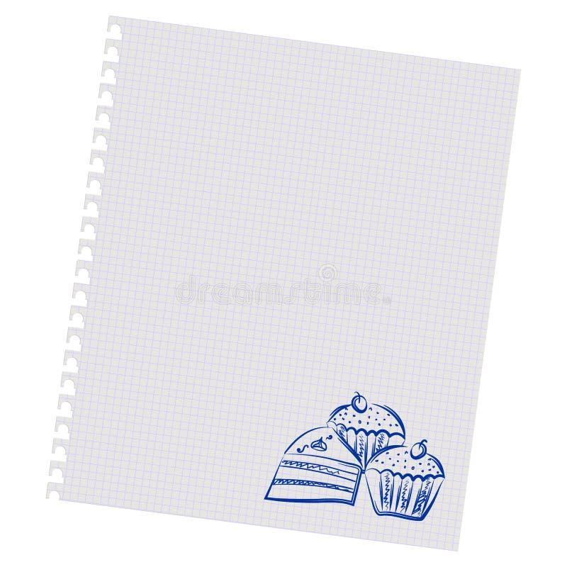 Κέικ σχεδίων χεριών σε ένα φύλλο στο κιβώτιο απεικόνιση αποθεμάτων