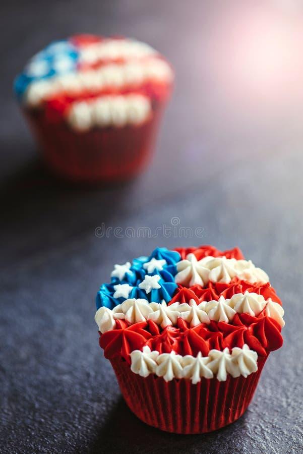 Κέικ φλυτζανιών αμερικανικών σημαιών στοκ φωτογραφίες με δικαίωμα ελεύθερης χρήσης