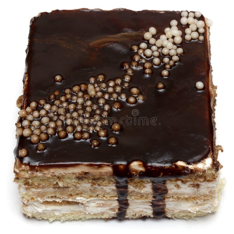 Κέικ Creame με την καφετιά σοκολάτα στοκ φωτογραφίες