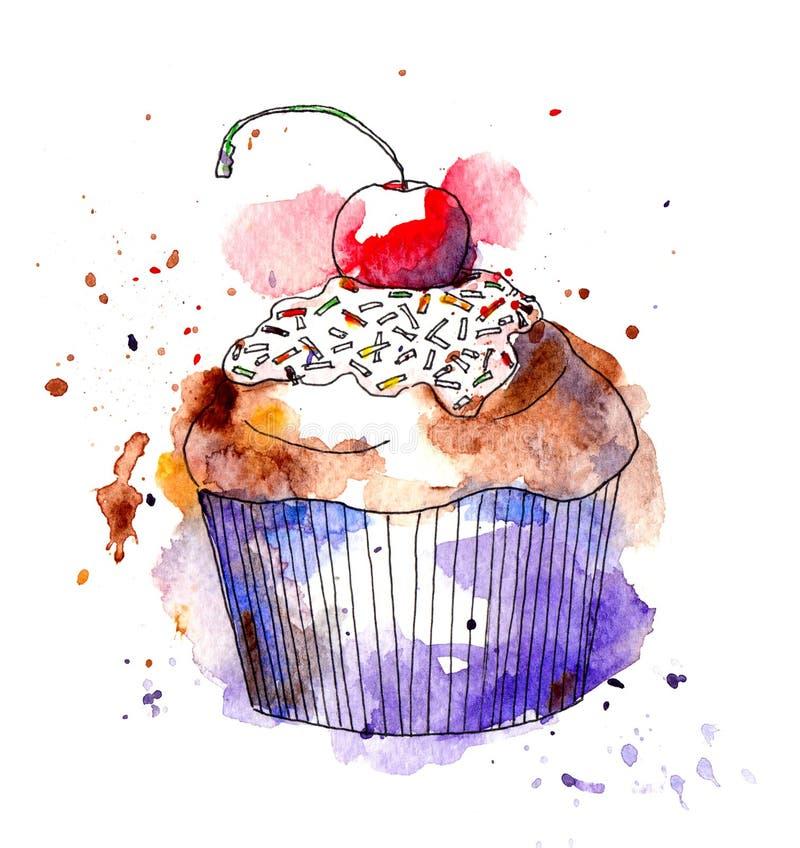 Κέικ Cupcake με το κεράσι watercolor διανυσματική απεικόνιση