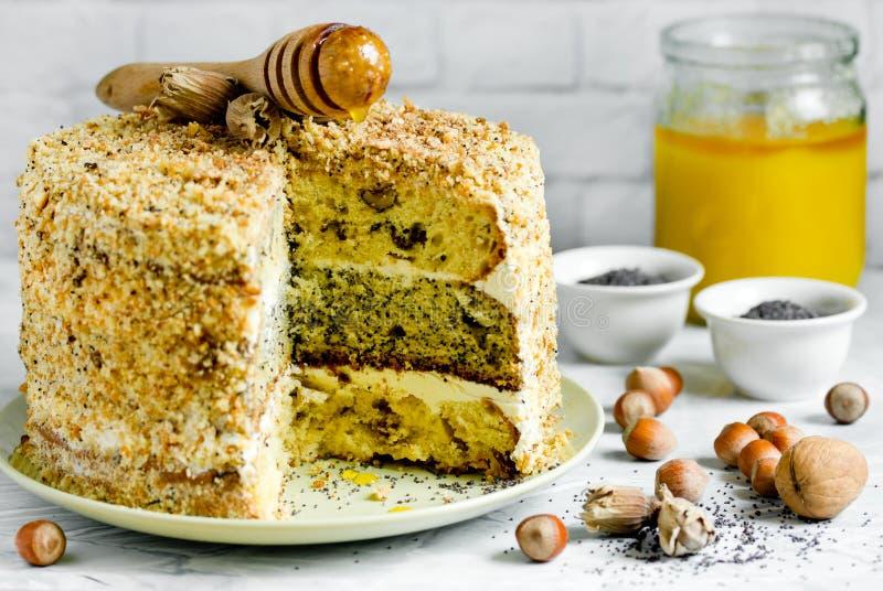 Κέικ smetannik ή γενικός - κέικ τριών στρώματος με το καρύδι, την παπαρούνα και τη σταφίδα στοκ εικόνες
