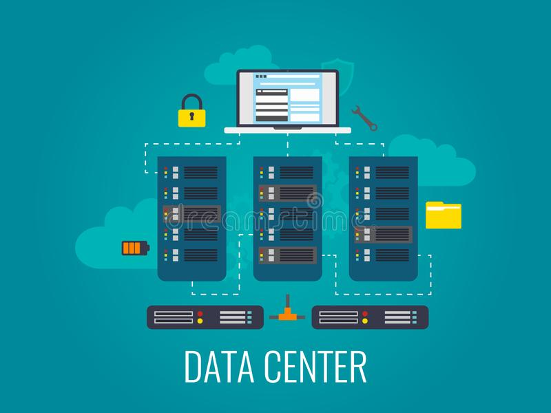 Κέντρο δεδομένων Έννοια τεχνολογιών σύννεφων Σχέδιο κεντρικών υπολογιστών υπολογιστών Φιλοξενία Ιστού και βάση δεδομένων σύννεφων διανυσματική απεικόνιση