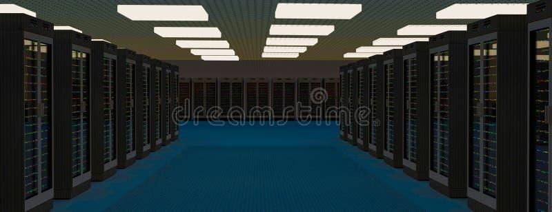 Κέντρο δεδομένων δωματίων κεντρικών υπολογιστών Εφεδρική, η φιλοξενία, ο κεντρικός υπολογιστής, το αγρόκτημα και ο υπολογιστής βα ελεύθερη απεικόνιση δικαιώματος