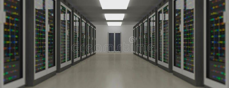 Κέντρο δεδομένων δωματίων κεντρικών υπολογιστών Εφεδρική, η φιλοξενία, ο κεντρικός υπολογιστής, το αγρόκτημα και ο υπολογιστής βα διανυσματική απεικόνιση