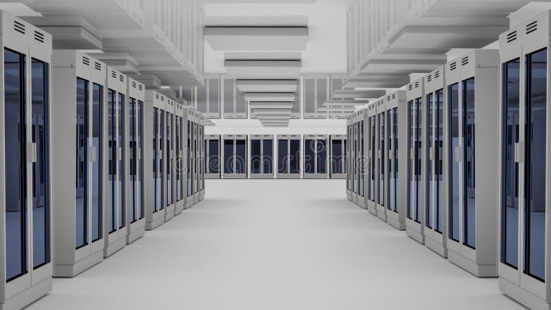 Κέντρο δεδομένων δωματίων κεντρικών υπολογιστών τρισδιάστατη απόδοση απεικόνιση αποθεμάτων