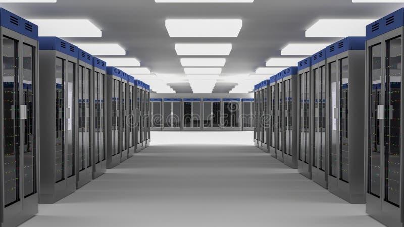 Κέντρο δεδομένων δωματίων κεντρικών υπολογιστών τρισδιάστατη απόδοση ελεύθερη απεικόνιση δικαιώματος