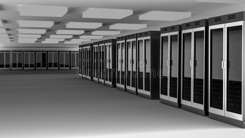 Κέντρο δεδομένων δωματίων κεντρικών υπολογιστών τρισδιάστατη απόδοση διανυσματική απεικόνιση