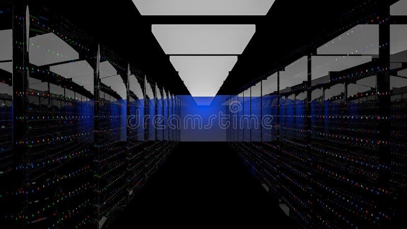 Κέντρο δεδομένων δωματίων κεντρικών υπολογιστών τρισδιάστατος δώστε ελεύθερη απεικόνιση δικαιώματος